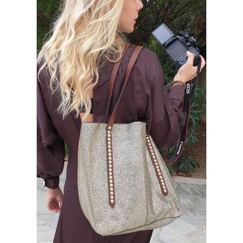 Nanni Milano Metalic Leather Shopper Bag