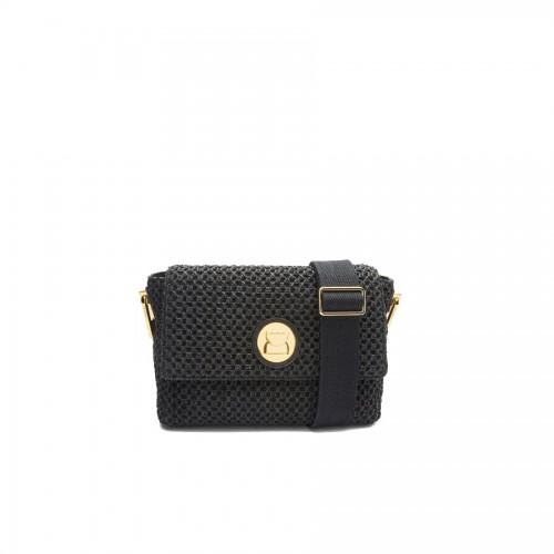 Coccinelle Liya Black Woven And Leather Handbag