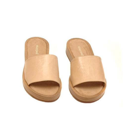 Maypol Beige Leather Slippers