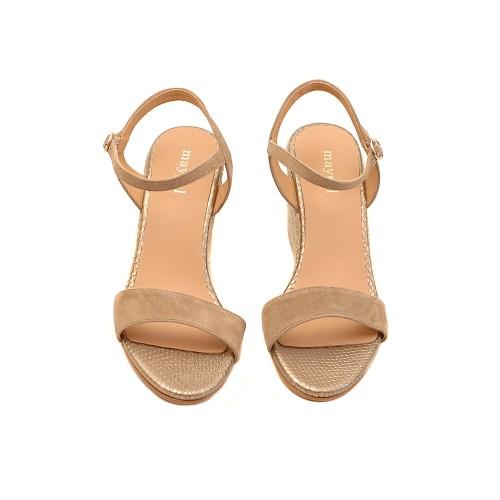 Maypol Beige Suede Wedge Sandals