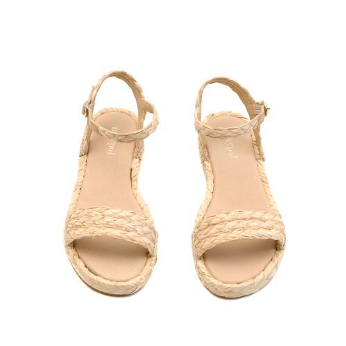 Maypol Letaher And Raffia Sandals