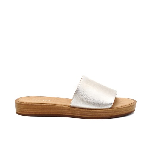 Maypol Silver Leather Slippers