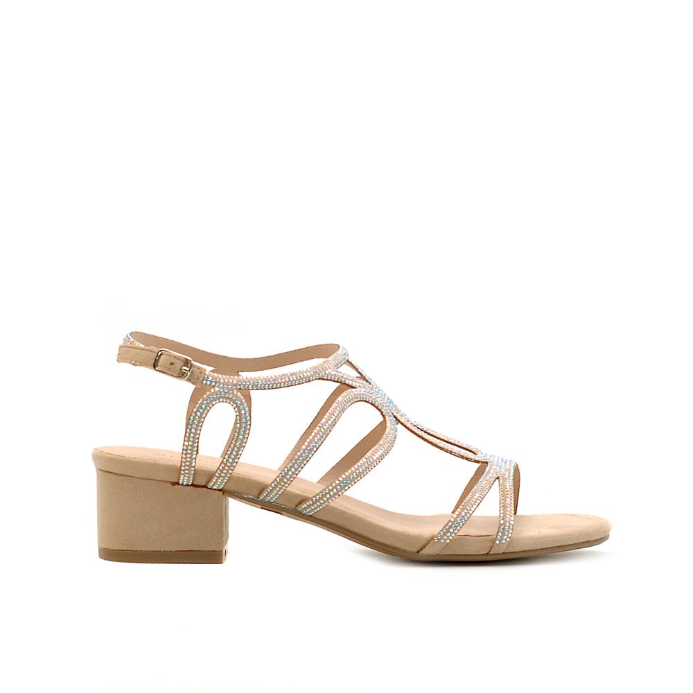 Menbur Beige Mid Heel Sandals