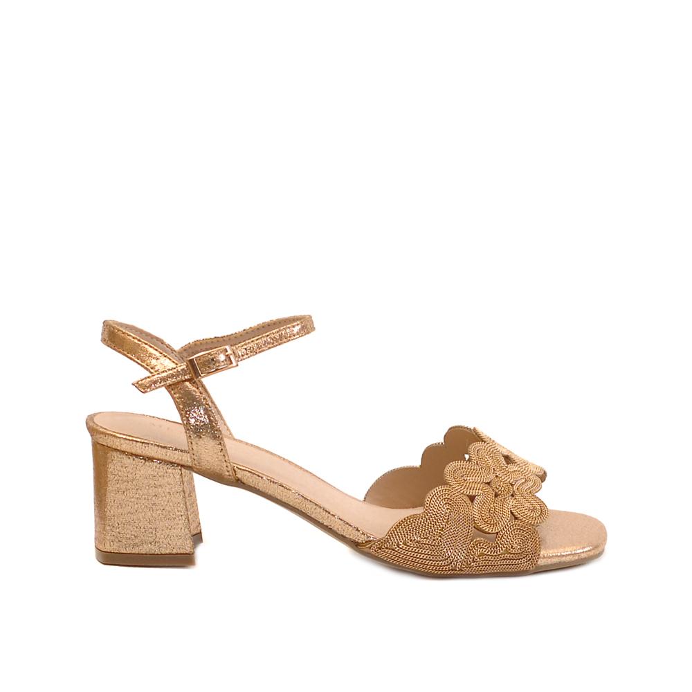 Menbur Verbicaro Gold Mid Heel Sandals