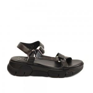 KMB Black Multi-Strap Napa Leather Flatforms