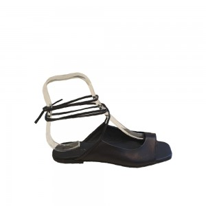 Lilimill Black Lace-Up Leather Sandals