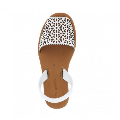 Minorquines Avarca Platja Moucharabieh White Leather Sandals