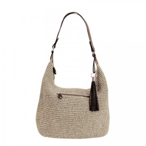 Bagatelle France Grey Raffia And Leather Bag