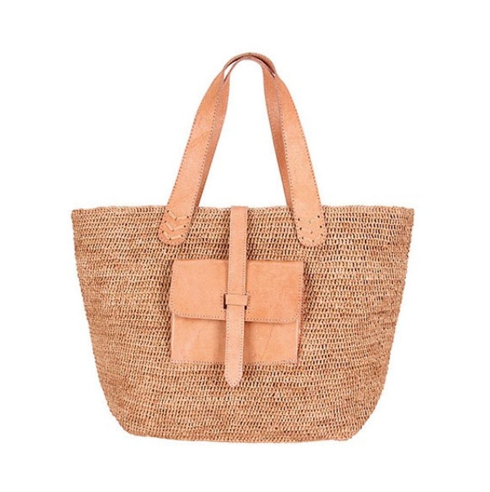 Bagatelle France Raffia And Leather Tote Bag