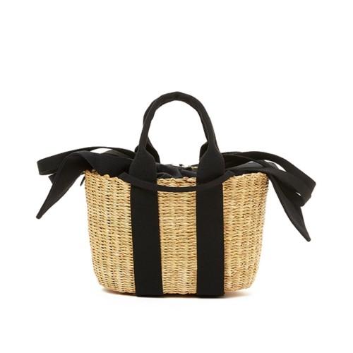 Muuñ Mini Caba P Removable Pouch Black Straw Bag