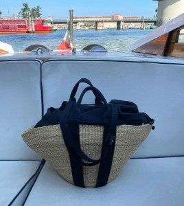 Muun Sophie Removable Pouch Black Straw Bag