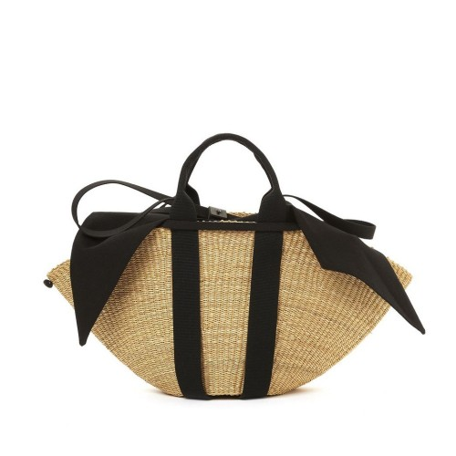 Muuñ Sophie Removable Pouch Black Straw Bag