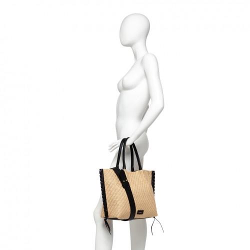 Gianni Chiarini Twenty Black Raffia Handbag
