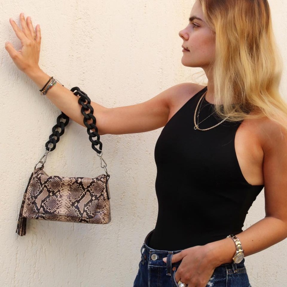 Gianni Chiarini Africa Medium Snake Print Leather Bag