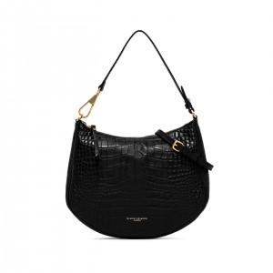 Gianni Chiarini Brooke Black Printed Leather Shoulder Bag