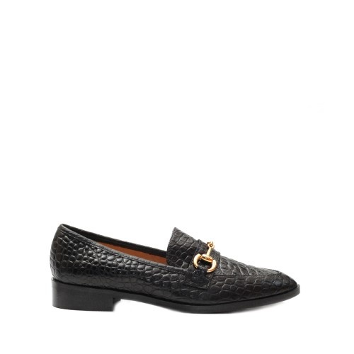 The Bag Horsebit Printed Black Leather Loafers