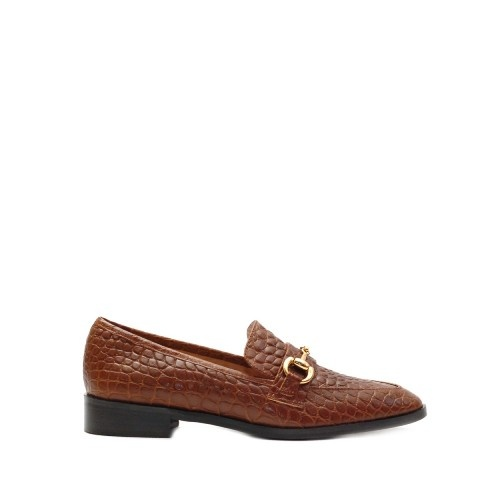 The Bag Horsebit Tan Printed Leather Loafers