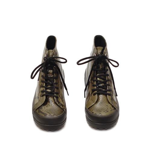 Superga 2341 Khaki Alpina Snake Print Boots