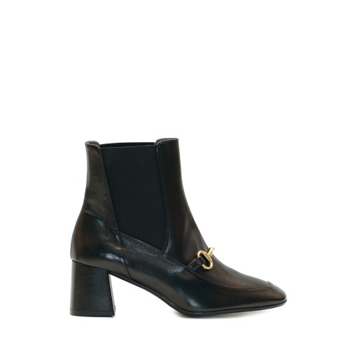 The Bag Black Horsebit Leather Ankle Boots