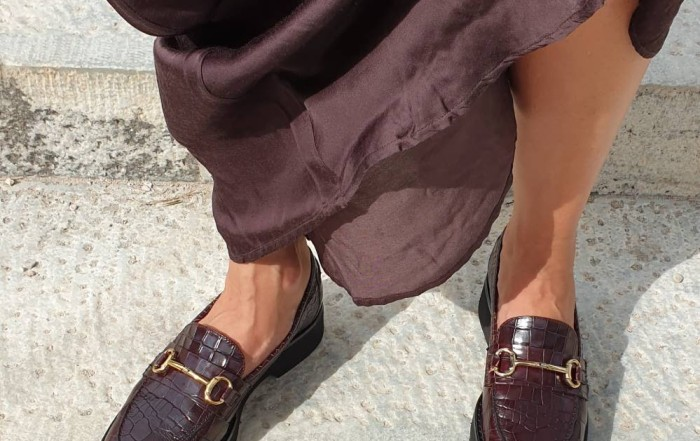 The Bag Croco Print Burgundy Leather Loafers