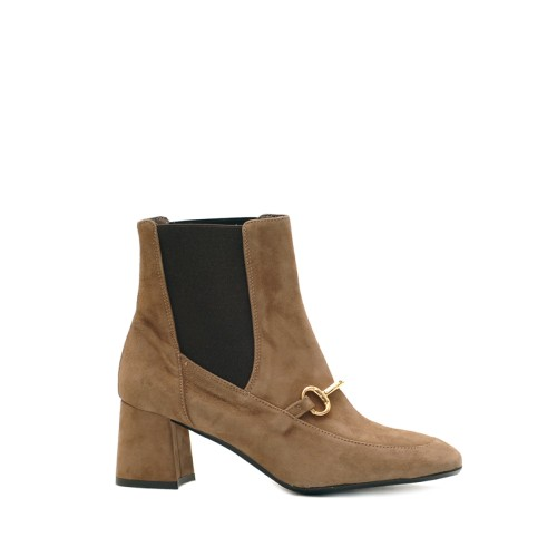 The Bag Light Brown Horsebit Suede Ankle Boots